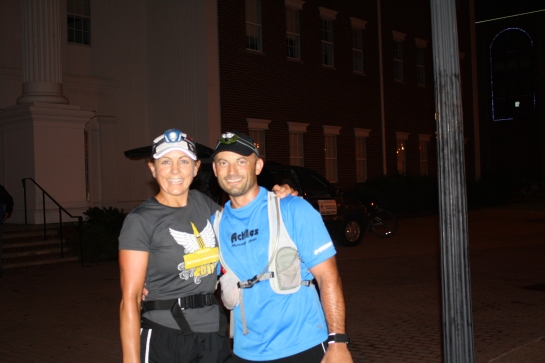 My 2012 Burning River 100 Mile Endurance run finish with my ROCKSTAR pacer, Sue.  What a day!  I vaguely remember this photo being taken.