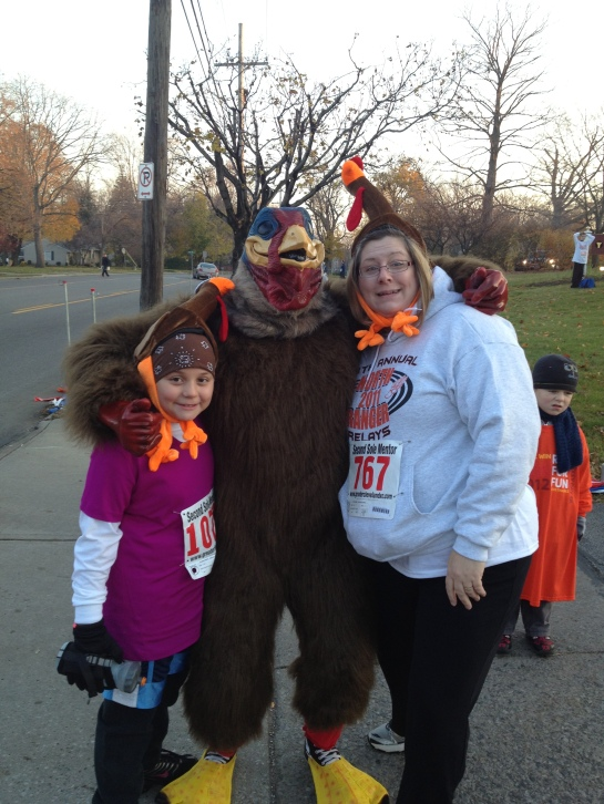 Em and our close friend Kellie (she's not the turkey in the middle)