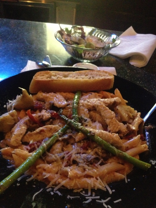 Chicken, pasta, artichoke, asparagus, sun-dried tomatos, and a Great Lakes Edmond Fitzgerald
