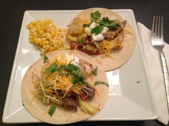 Steak Fajitas w/ chili lime corn
